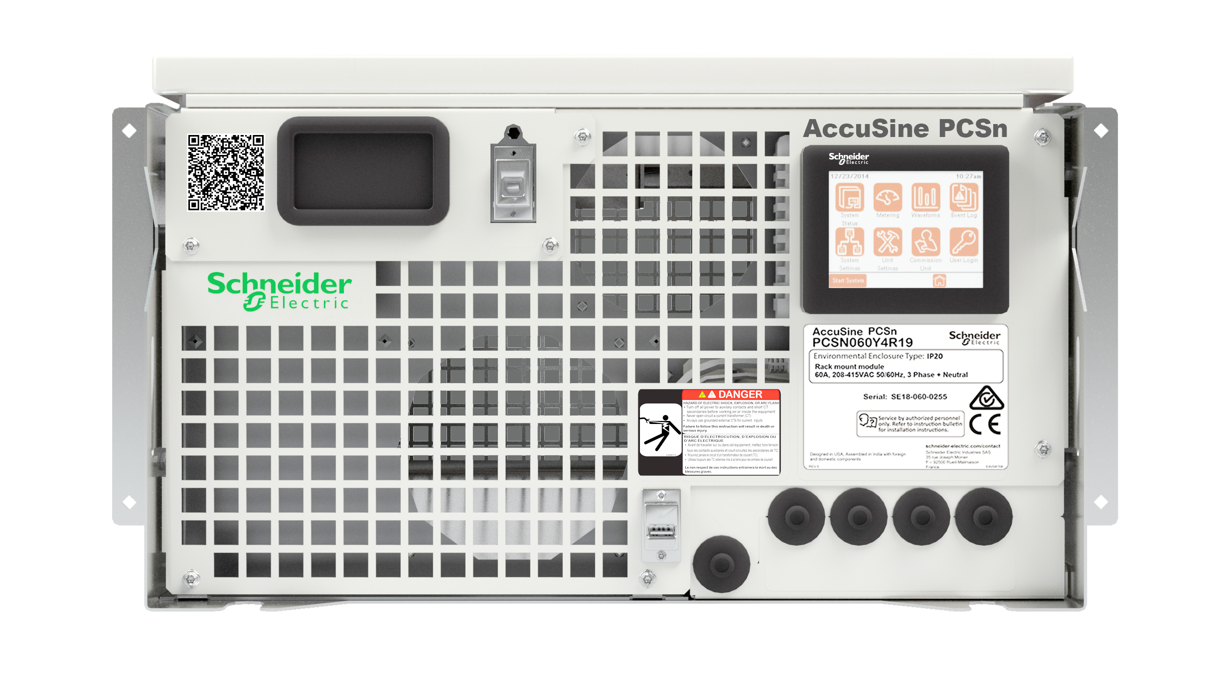 Schneider Electric's AccuSine PCSn active harmonic filter front rack