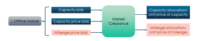 Offline market clearance: RTO/ISO requires each resource (or aggregated DERs in a microgrid) to provide various bids